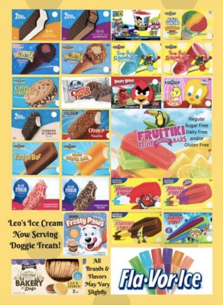 Leo's Ice Cream typical Scottsdale AZ ice cream menu